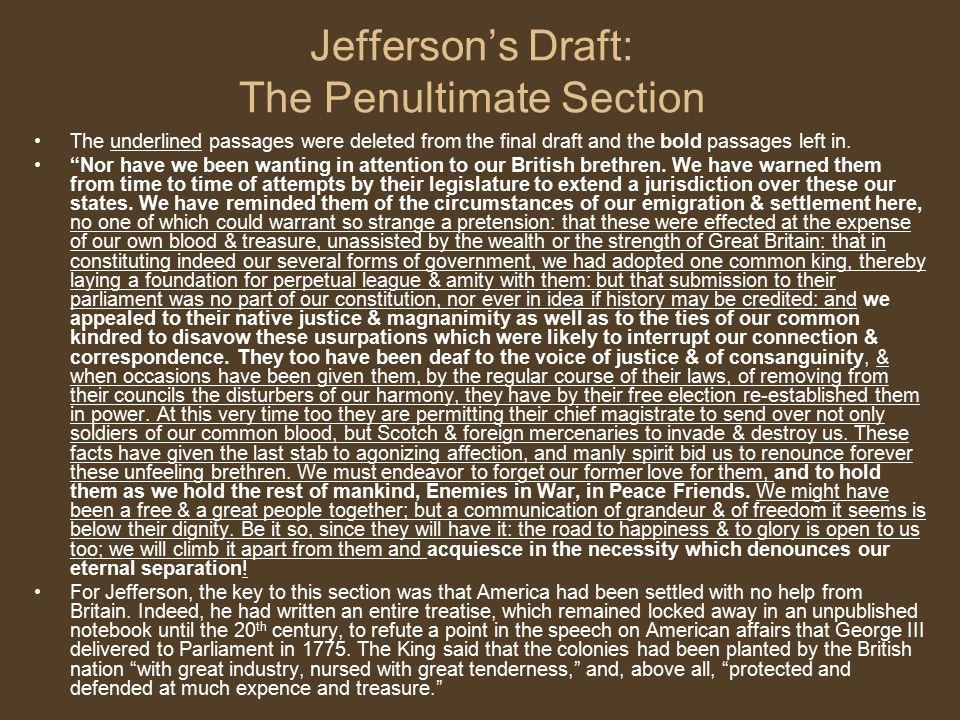 Jefferson's Draft: The Penultimate Section