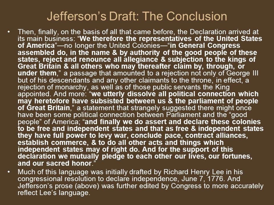 Jefferson's Draft: The Conclusion
