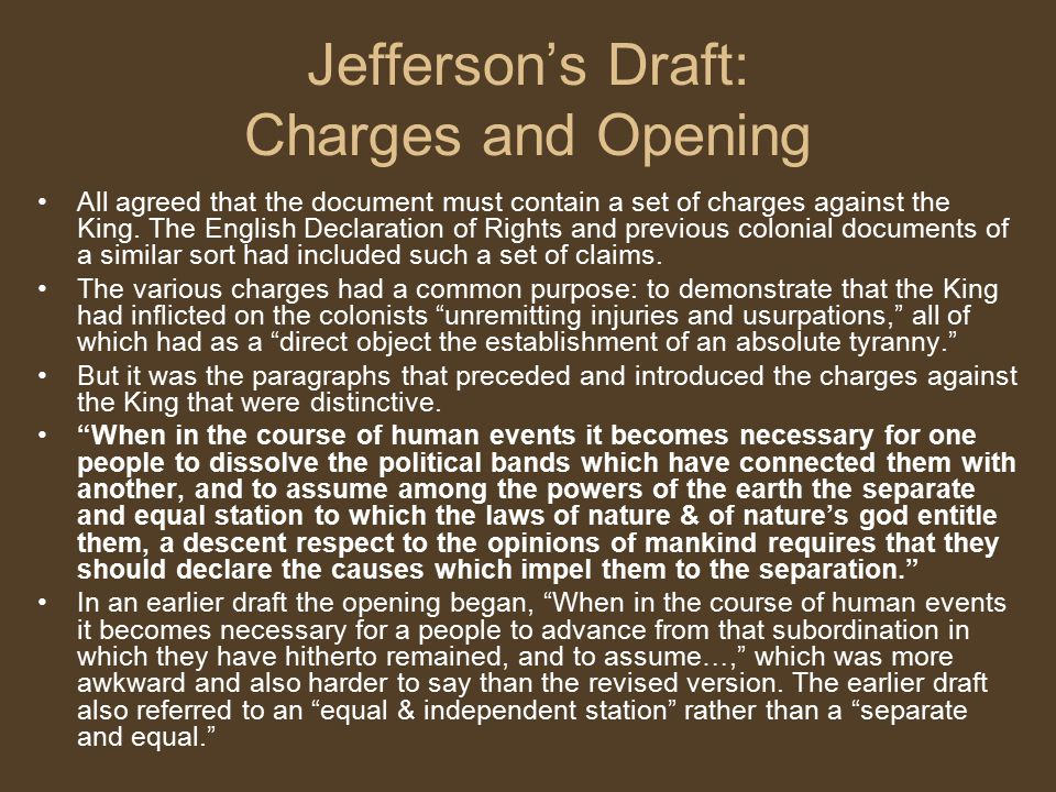 Jefferson's Draft: Charges and Opening