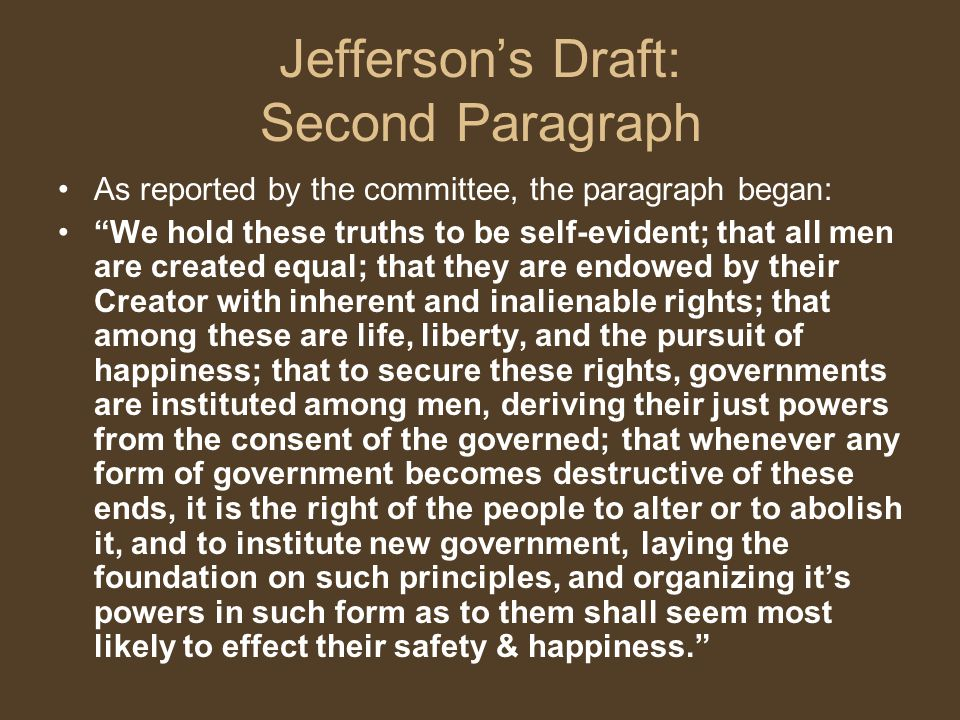 Jefferson's Draft: Second Paragraph