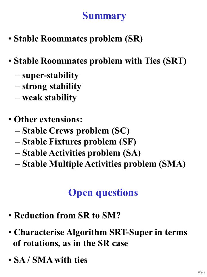 Open questions Summary Stable Roommates problem (SR)