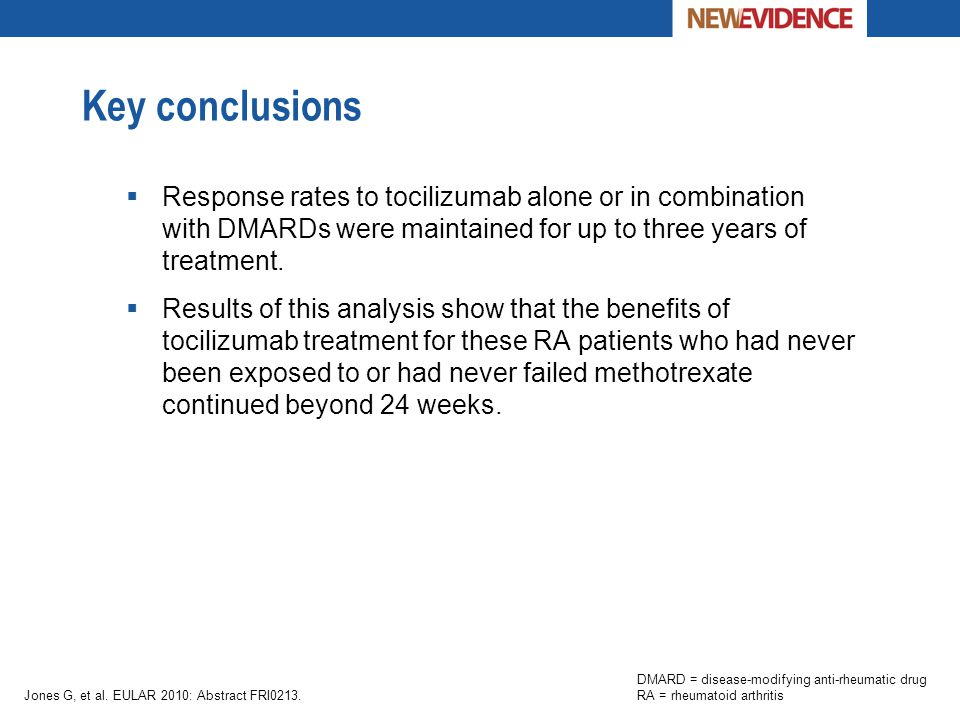 Key conclusions Response rates to tocilizumab alone or in combination with DMARDs were maintained for up to three years of treatment.