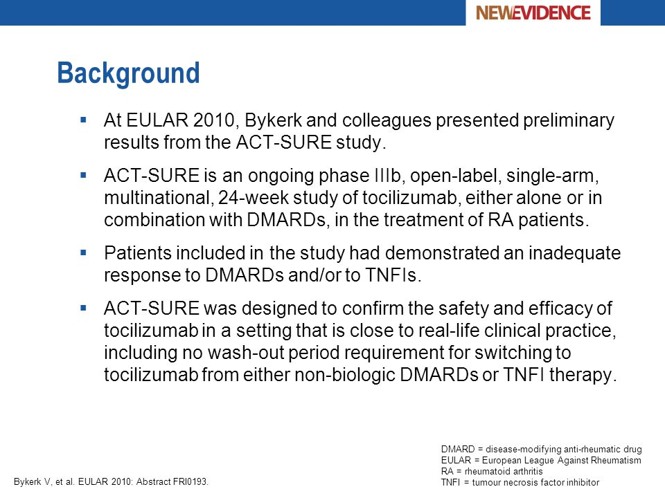 Background At EULAR 2010, Bykerk and colleagues presented preliminary results from the ACT-SURE study.
