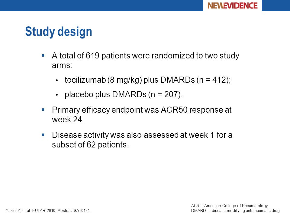Study design A total of 619 patients were randomized to two study arms: tocilizumab (8 mg/kg) plus DMARDs (n = 412);