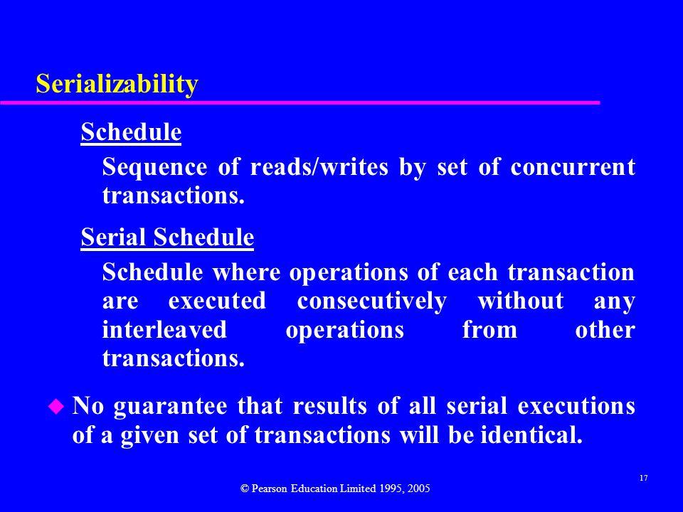 Serializability Schedule