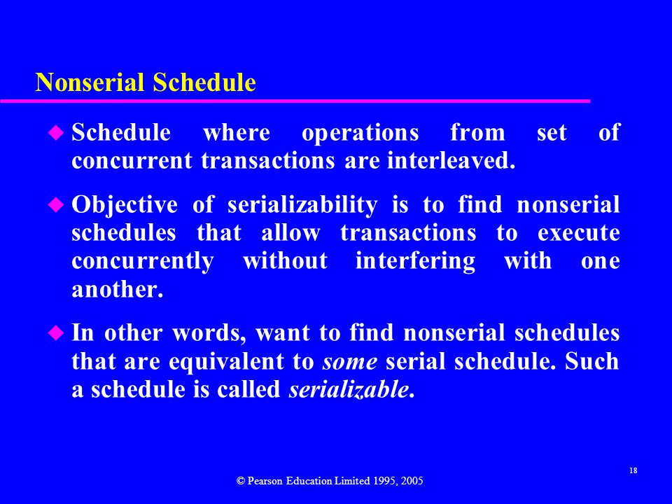 Nonserial Schedule Schedule where operations from set of concurrent transactions are interleaved.