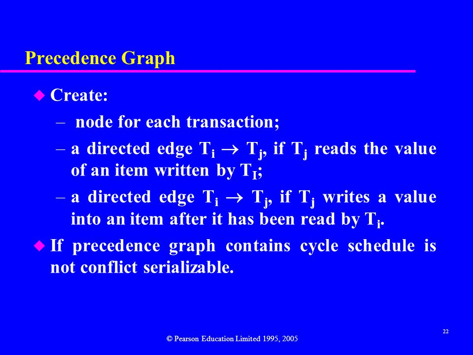 Precedence Graph Create: node for each transaction;