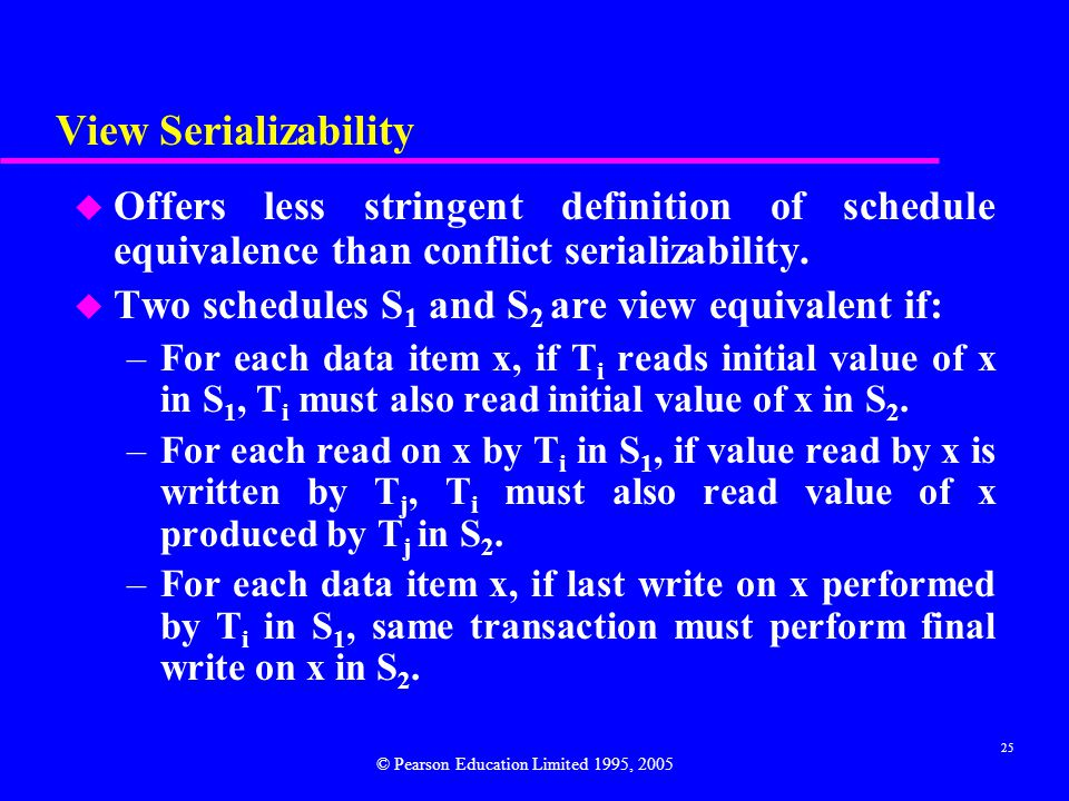 View Serializability Offers less stringent definition of schedule equivalence than conflict serializability.