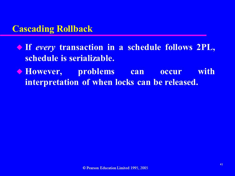 Cascading Rollback If every transaction in a schedule follows 2PL, schedule is serializable.