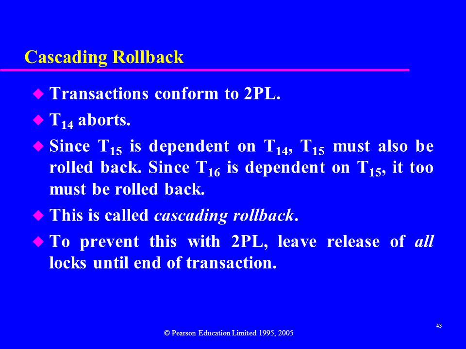 Cascading Rollback Transactions conform to 2PL. T14 aborts.