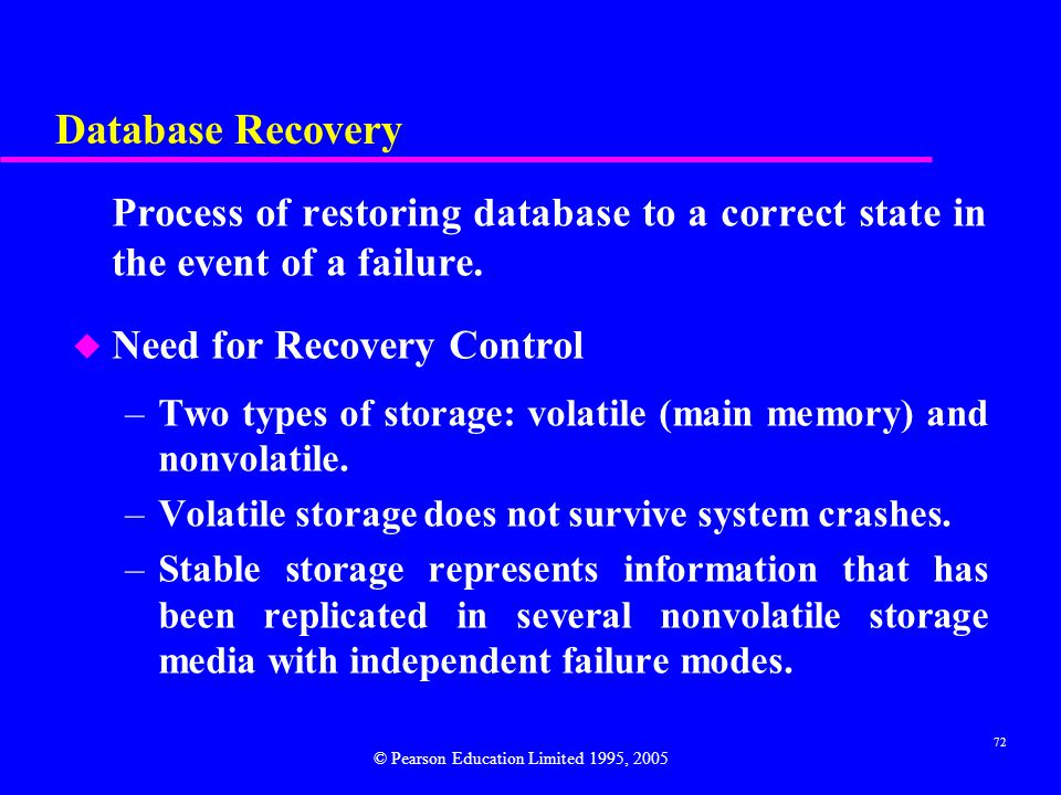 Database Recovery Need for Recovery Control
