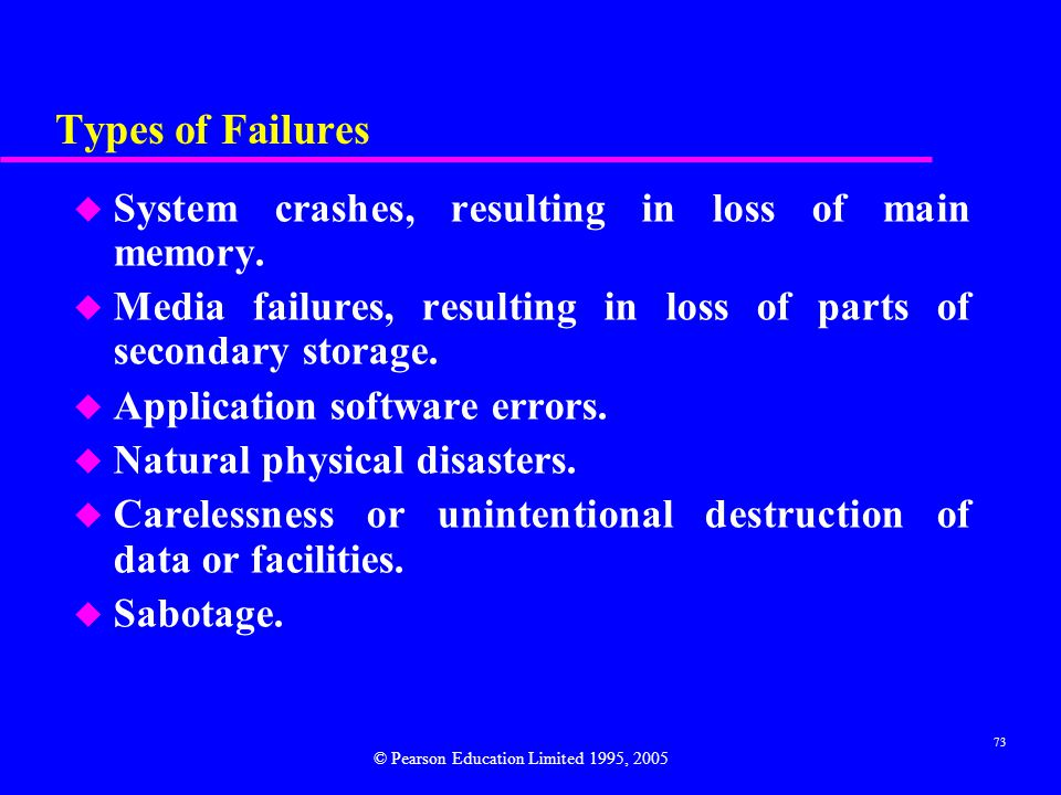 Types of Failures System crashes, resulting in loss of main memory.
