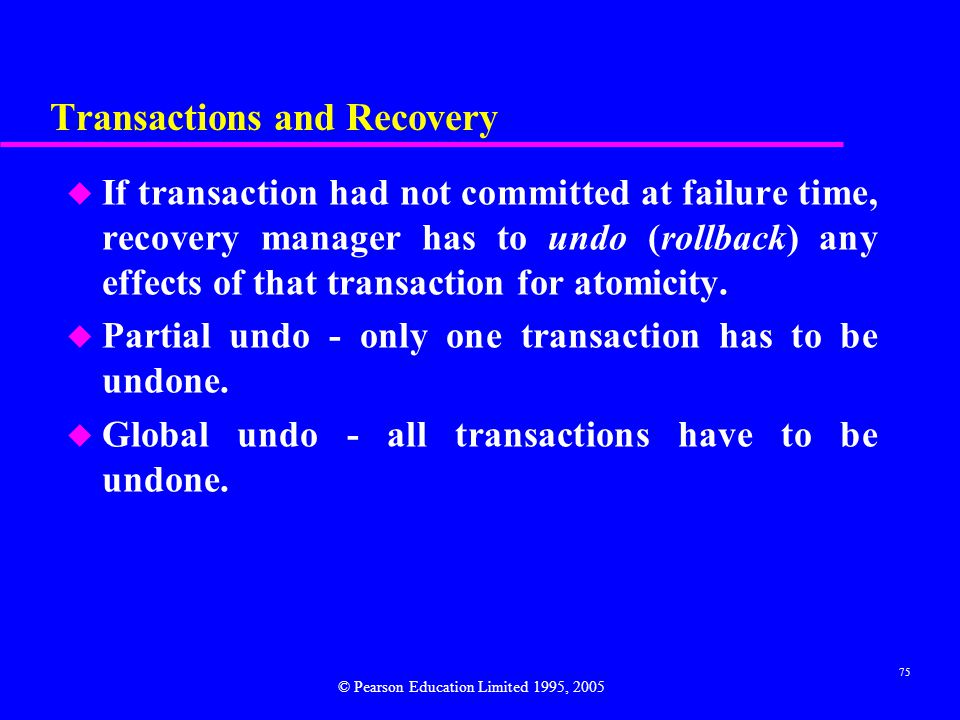 Transactions and Recovery