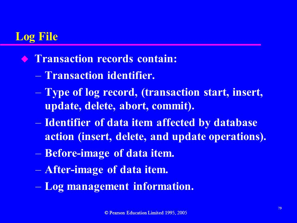 Log File Transaction records contain: Transaction identifier.