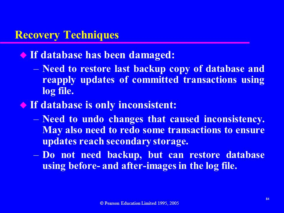 Recovery Techniques If database has been damaged: