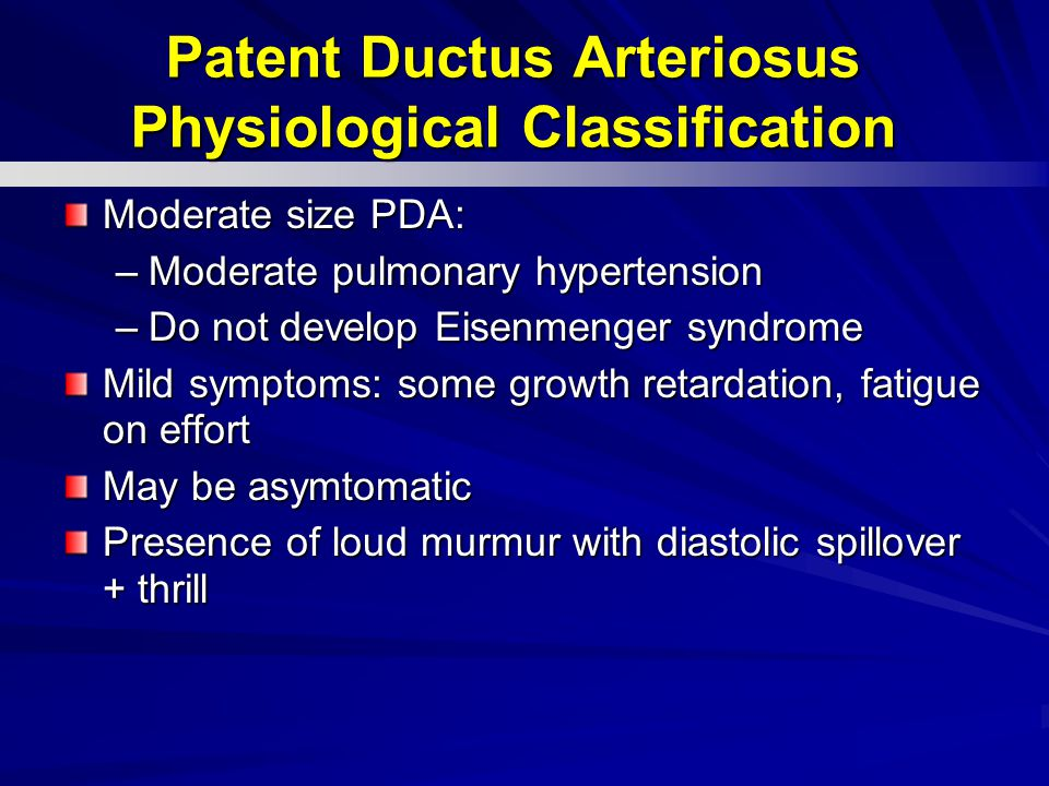 Patent Ductus Arteriosus Physiological Classification