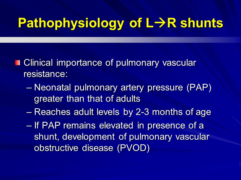Pathophysiology of LR shunts