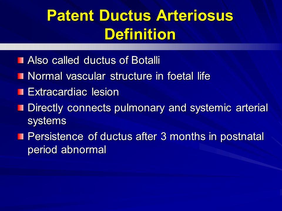 Patent Ductus Arteriosus Definition