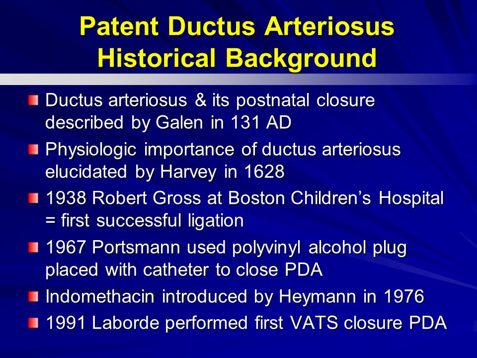 Patent Ductus Arteriosus Historical Background