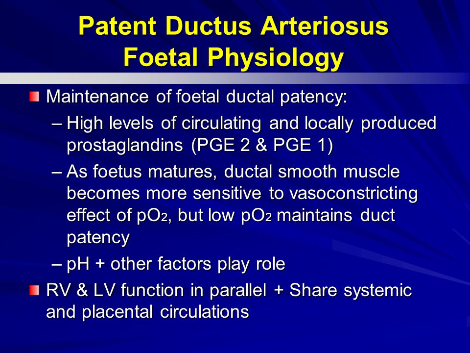 Patent Ductus Arteriosus Foetal Physiology
