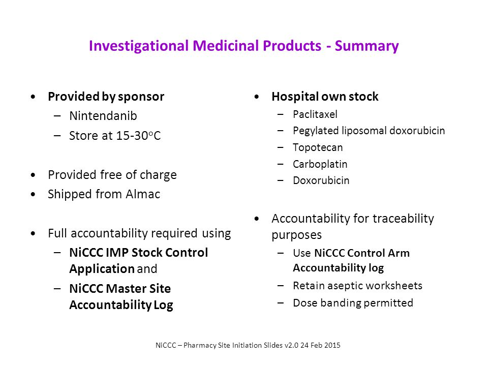Investigational Medicinal Products - Summary