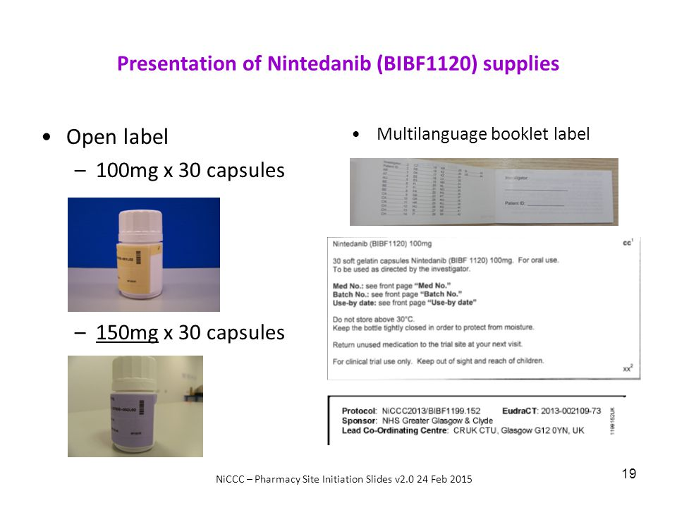 Presentation of Nintedanib (BIBF1120) supplies