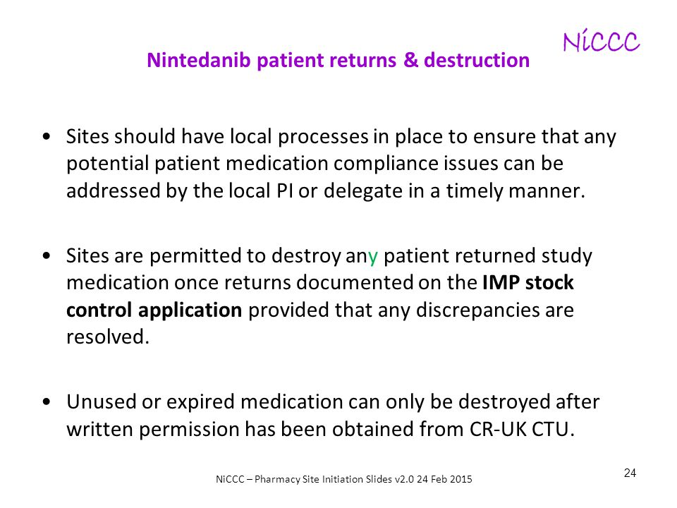 Nintedanib patient returns & destruction