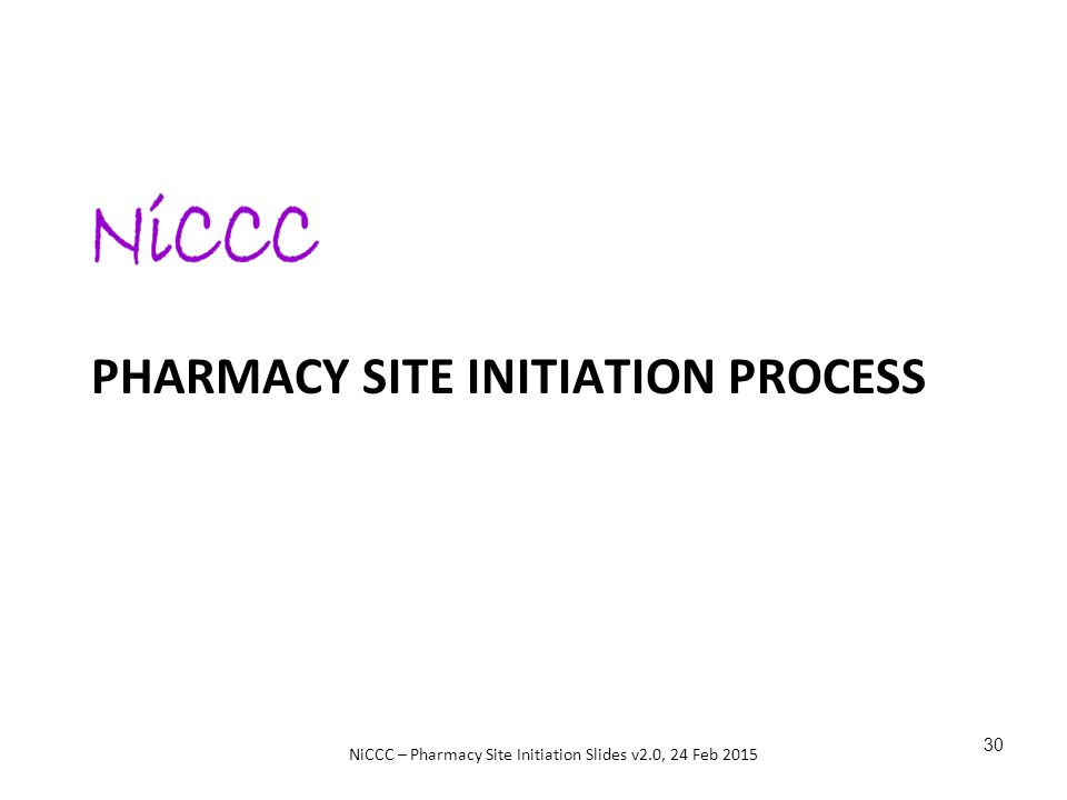 Pharmacy Site initiation Process
