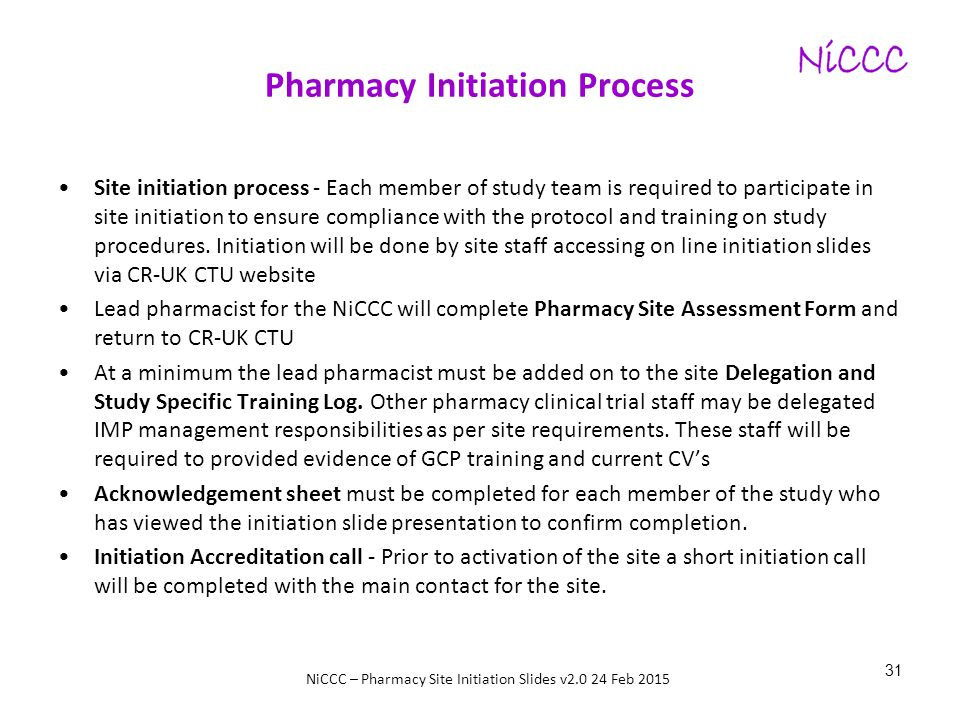 Pharmacy Initiation Process