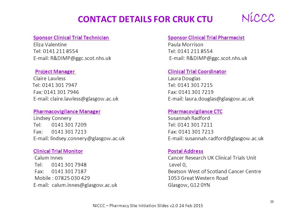 CONTACT DETAILS FOR CRUK CTU