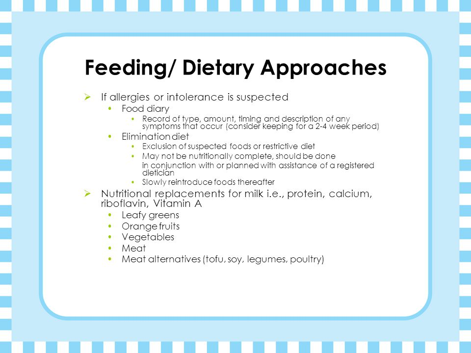 Feeding/ Dietary Approaches