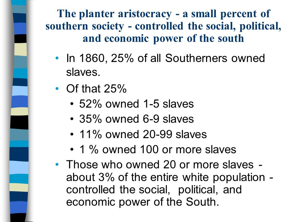 The planter aristocracy - a small percent of southern society - controlled the social, political, and economic power of the south