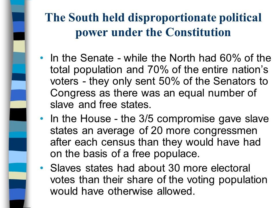 The South held disproportionate political power under the Constitution