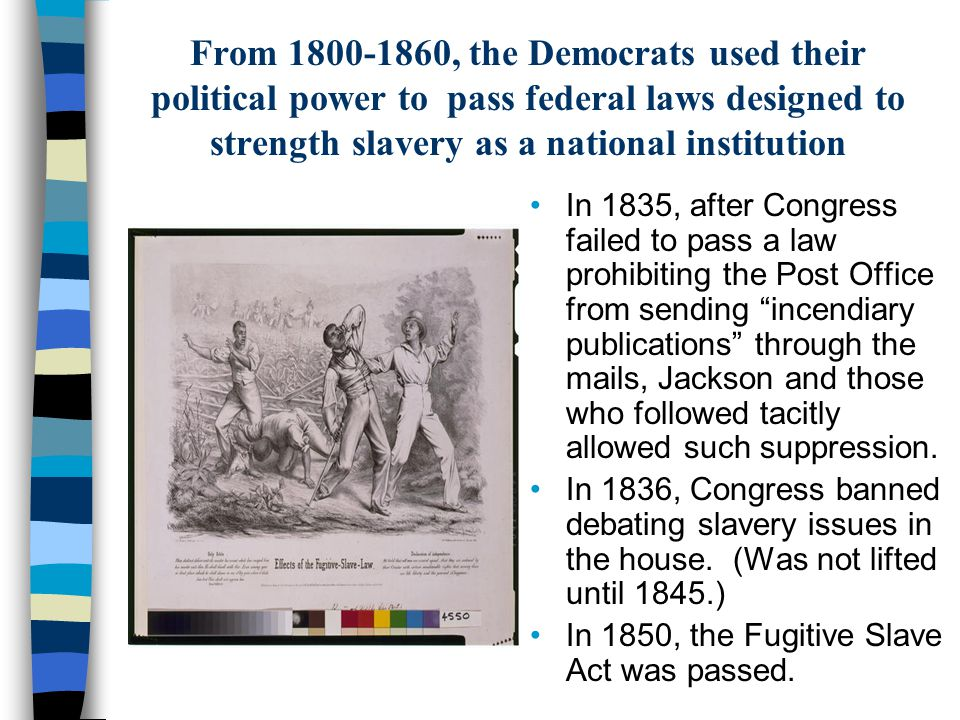 From 1800-1860, the Democrats used their political power to pass federal laws designed to strength slavery as a national institution