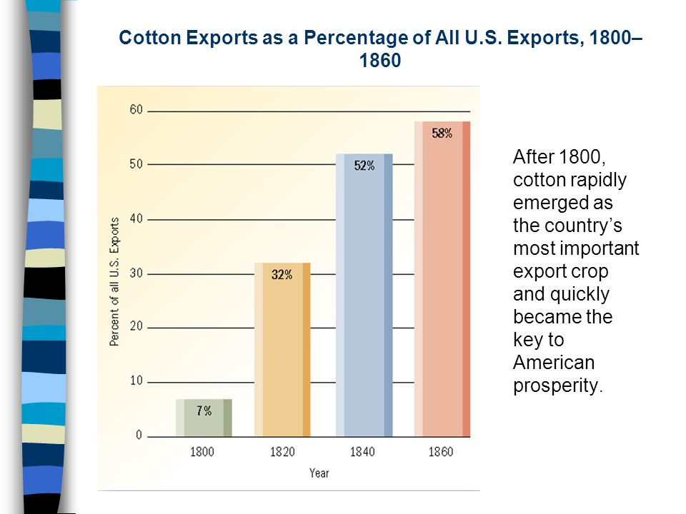 Cotton Exports as a Percentage of All U.S. Exports, 1800–1860