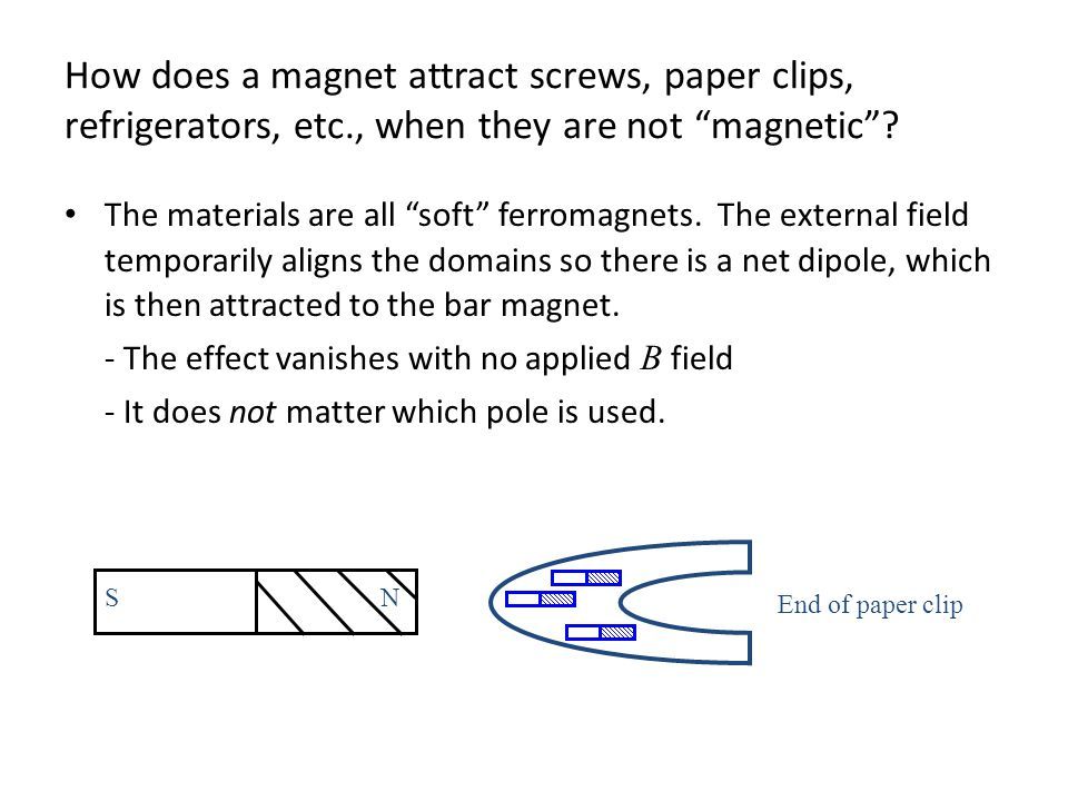 How does a magnet attract screws, paper clips, refrigerators, etc