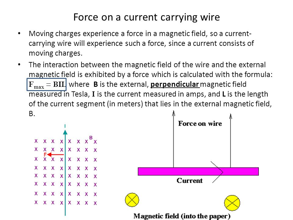 Force on a current carrying wire