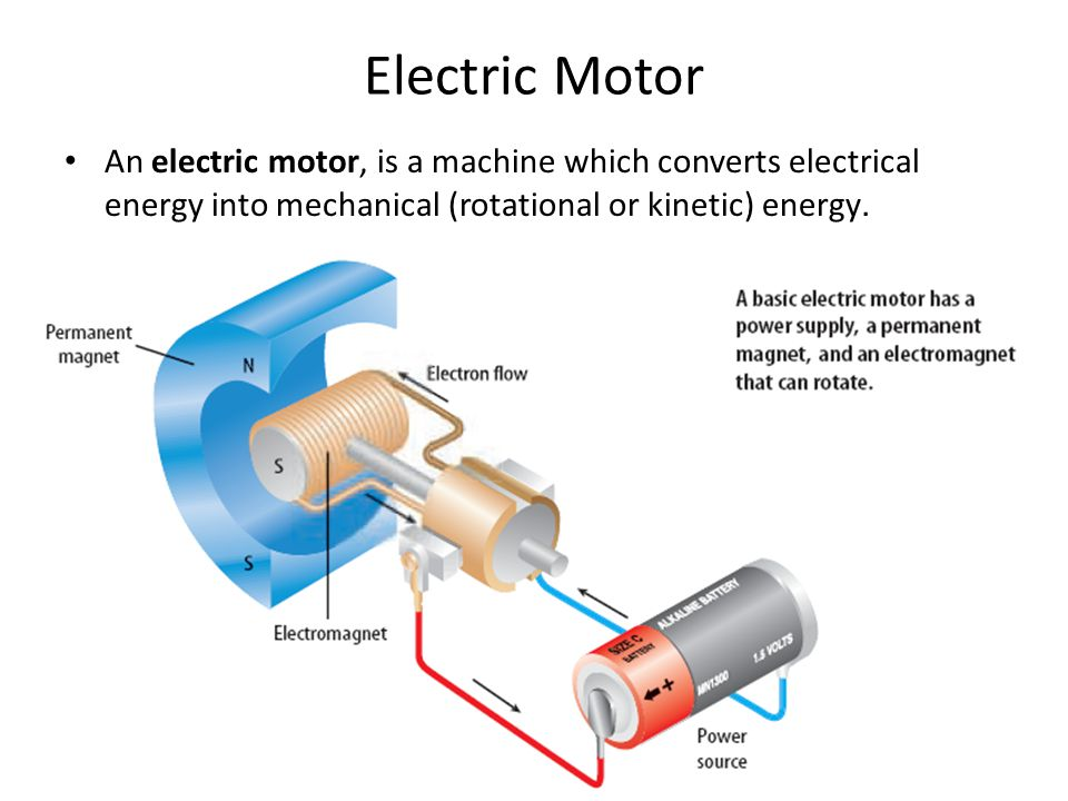 Electric Motor An electric motor, is a machine which converts electrical energy into mechanical (rotational or kinetic) energy.