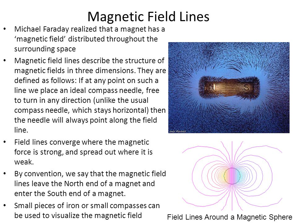 Magnetic Field Lines Michael Faraday realized that a magnet has a 'magnetic field' distributed throughout the surrounding space.