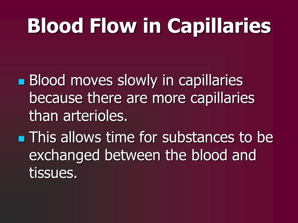 Blood Flow in Capillaries