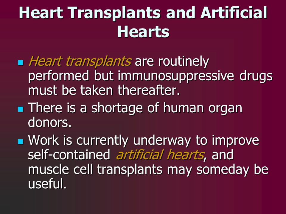 Heart Transplants and Artificial Hearts