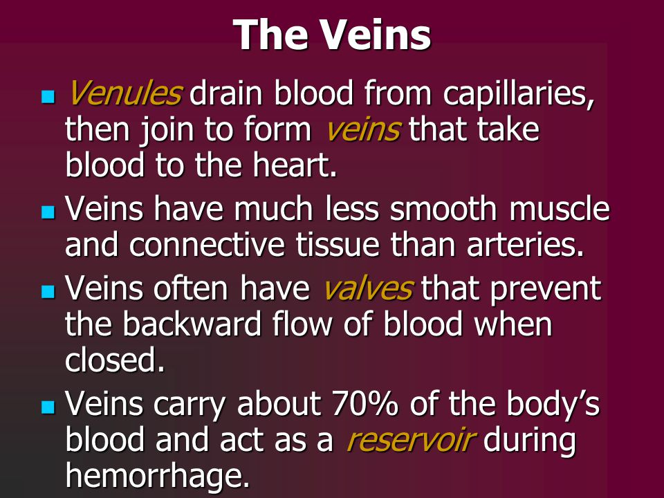 The Veins Venules drain blood from capillaries, then join to form veins that take blood to the heart.