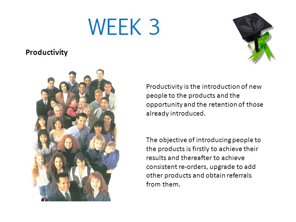 Productivity Productivity is the introduction of new people to the products and the opportunity and the retention of those already introduced.