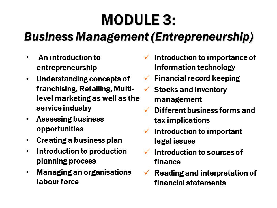 MODULE 3: Business Management (Entrepreneurship)
