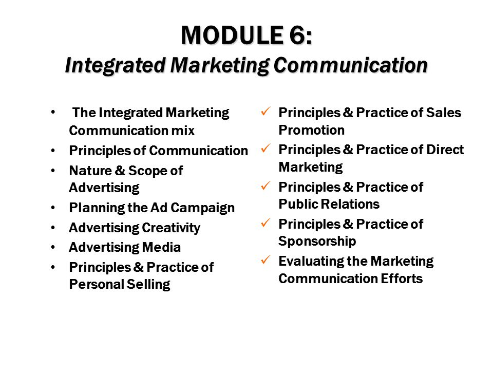 MODULE 6: Integrated Marketing Communication