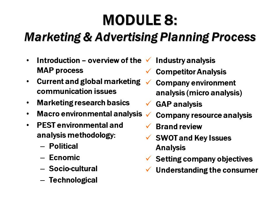 MODULE 8: Marketing & Advertising Planning Process