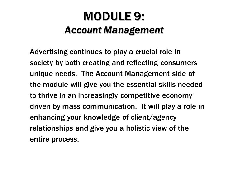 MODULE 9: Account Management