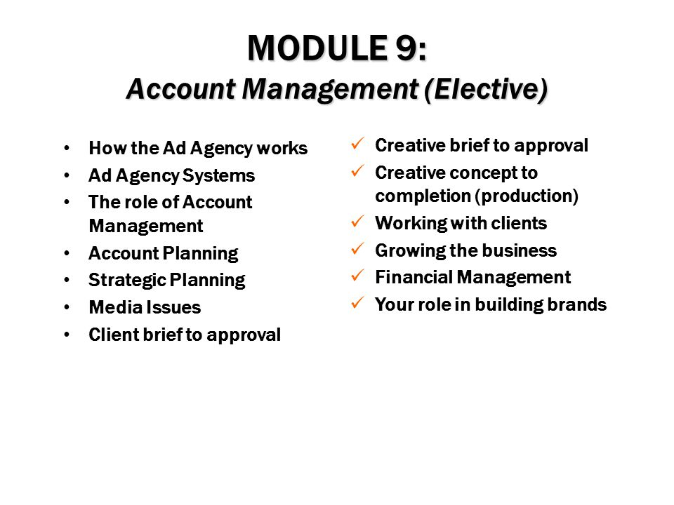 MODULE 9: Account Management (Elective)