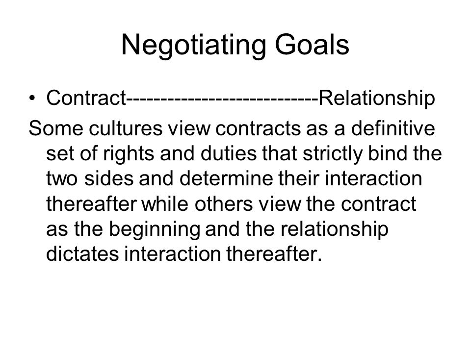 Negotiating Goals Contract----------------------------Relationship