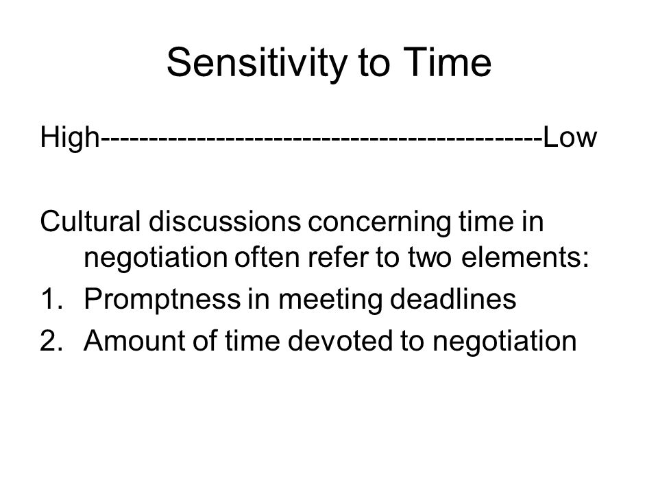 Sensitivity to Time High----------------------------------------------Low.